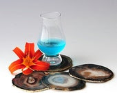 Real Cool Brazilian Agate Coasters Black set for glass accompany 3.5-4inch with bumbers