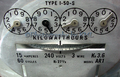 a macro of an electric meter showing the kilowatthours