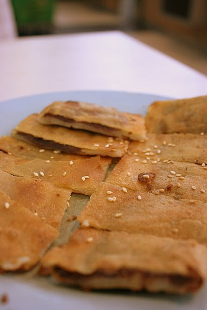 Pan-fried red bean pancake