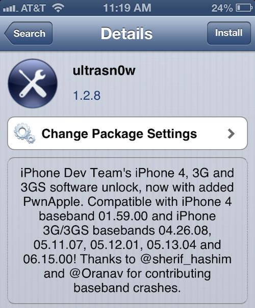 Download ultrasn0w 1. 2. 8 to unlock iphone 4 / 3gs [old baseabnds].