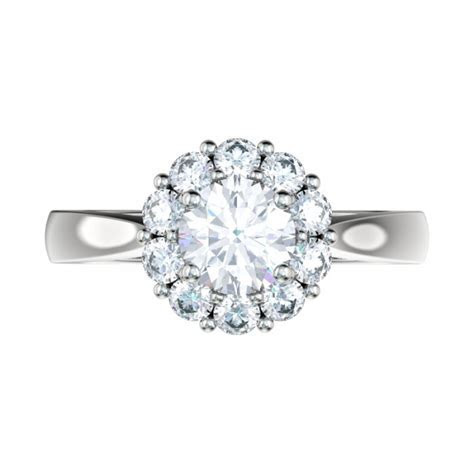 Tapered Shank Shared Prong Halo Engagement Ring