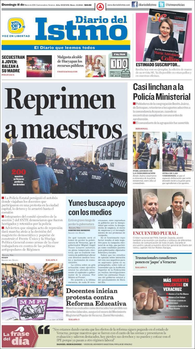 Portada de Diario del Istmo - Voz en Libertad (México)