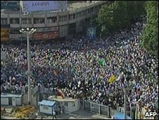 A TV grab of supporters of President Mahmoud Ahmadinejad in Vali Asr Square in Tehran on Tuesday