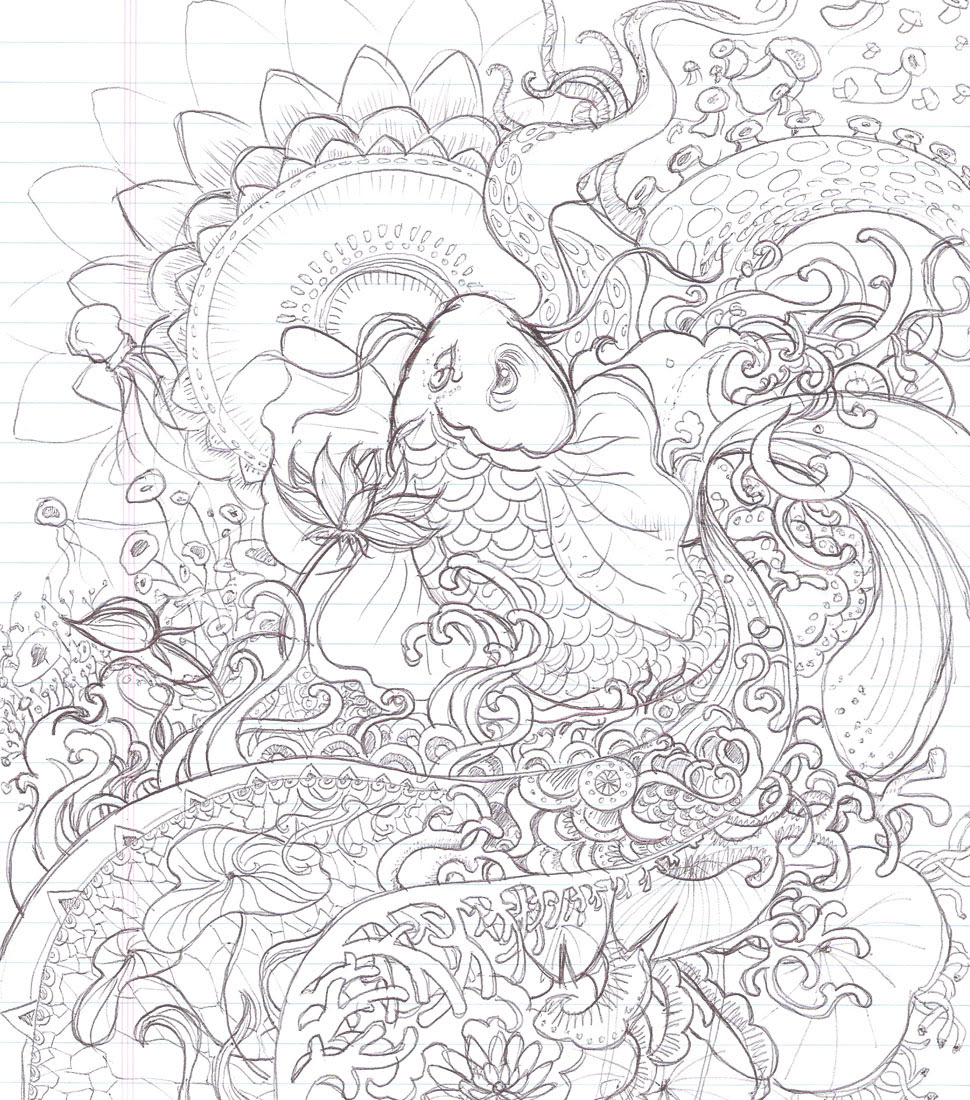 Long Tailed Fish In Fish Bowl Coloring Page Download Print Online