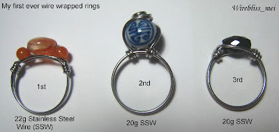 wire wrapped rings with mix stones and beads
