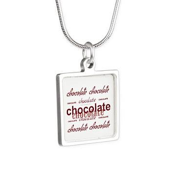 Celebrate Chocolate Silver Square Necklace