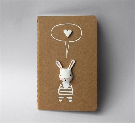Altered moleskine journal Bunny notebook diary by