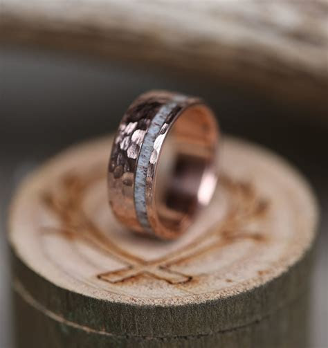 10K GOLD & ELK ANTLER WEDDING BAND W/ HAMMERED FINISH