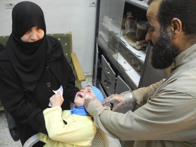Niños enfermos de leishmaniasis en Siria.