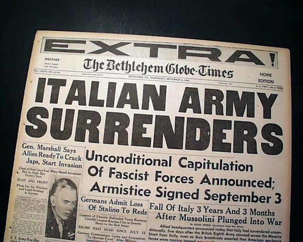 Image result for 1943 - During World War II, Italy signed an armistice with the Allies