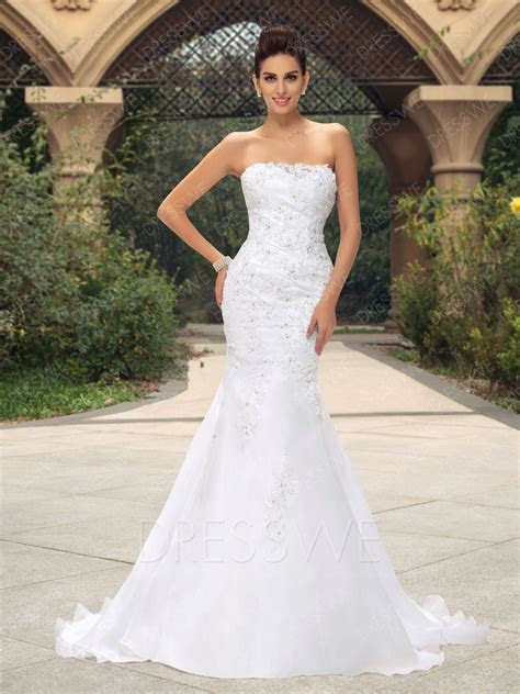 Strapless Mermaid Appliques Sequins Court Train Wedding