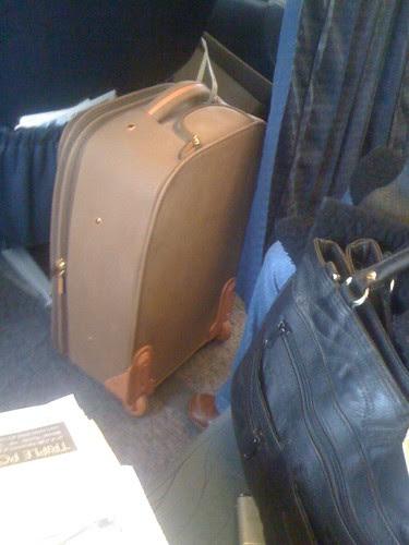 In flight safe bag stowage on BMI/Transaero LHR to DME.