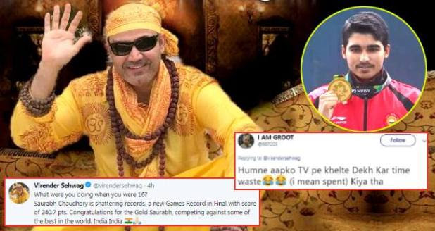 People Gave Funny Replies After Virendra Sehwag Congratulates 16 YO Saurabh For Winning Gold