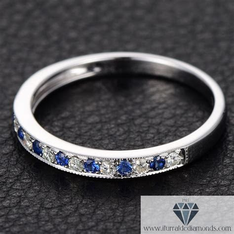 Moissanite & Sapphire Half Eternity Wedding Band 14k Gold
