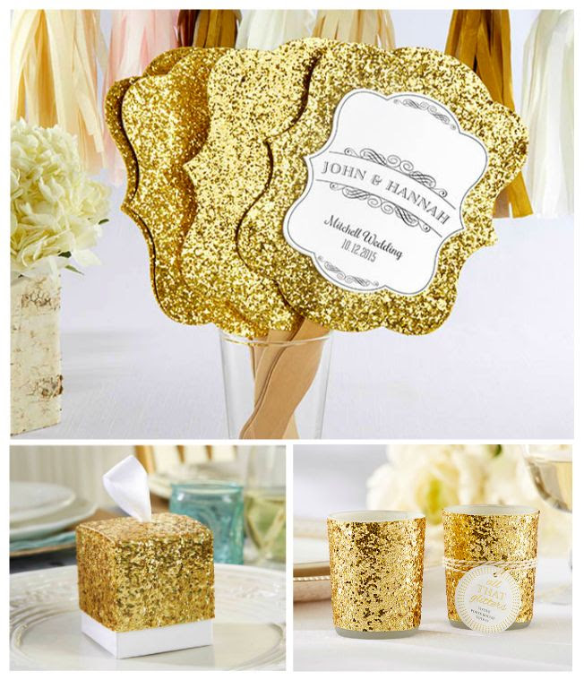 Love gold glitter wedding themes? Create your DREAM WEDDING with stylish wedding favors, wedding decorations and wedding supplies from www.EventDazzle.com