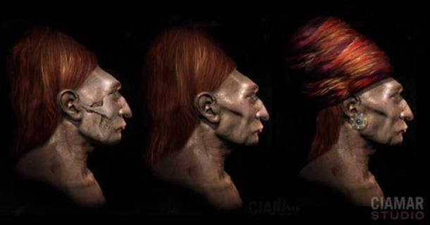 The pronounced cheek bones can be seen in artist Marcia Moore's interpretation of how the Paracas people looked based on a digital reconstruction from the skulls.