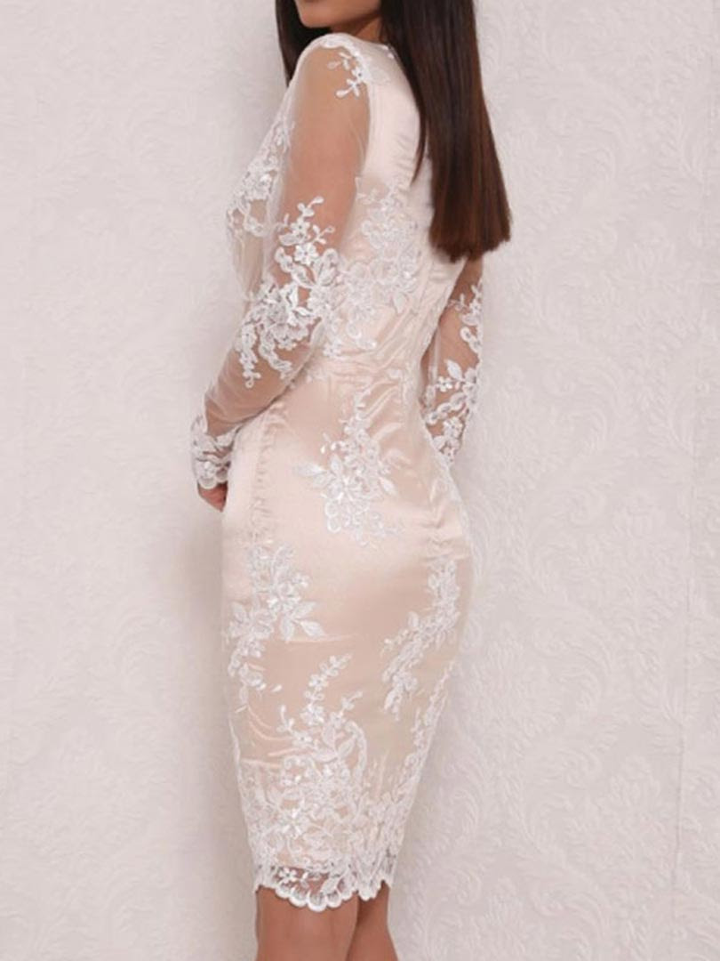 Bodycon dress with sheer overlay