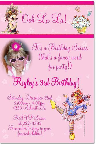 Fancy Nancy Birthday Invitations, Candy Wrappers, Thank