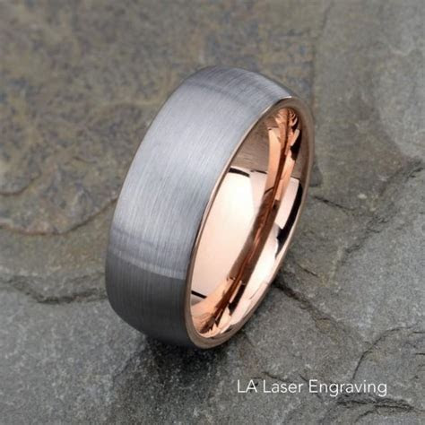 Tungsten Wedding Band, Brushed, Domed Rose Tungsten Ring