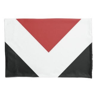 Black, White, Red Diamond Pattern Pillowcase