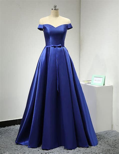 shoulder sleeves royal blue prom dress