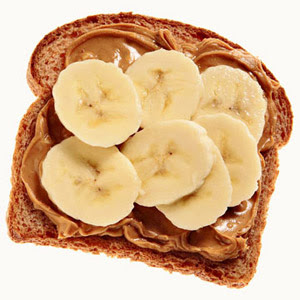 Bananas and peanut butter on whole wheat bread