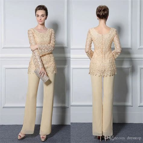 light yellow lace pants suits  mother   bride