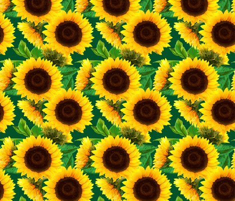 seamless_pattern_of_sunflowers_with_green_leaves fabric ...