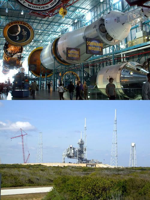 TOP PIC: An actual Saturn V rocket.  BOTTOM PIC: Launch Complex 39B.