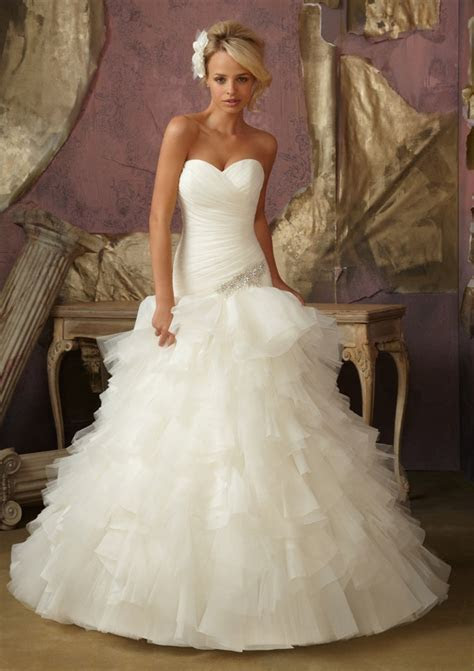 Diamante and Ruffled Organza Tulle Wedding Dress   Style
