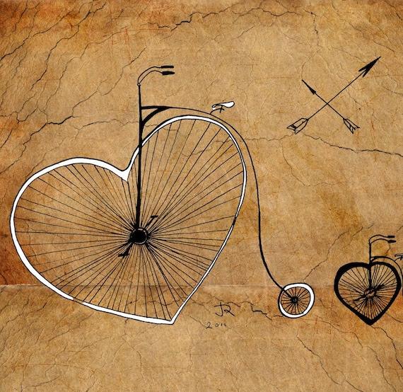 Vintage bicycles hearts love Giclee Art Print Limited edition 12''x16'' (A3)by Juri Romanov Orange Optimist