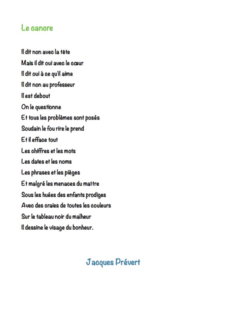 Le Cancre Poeme
