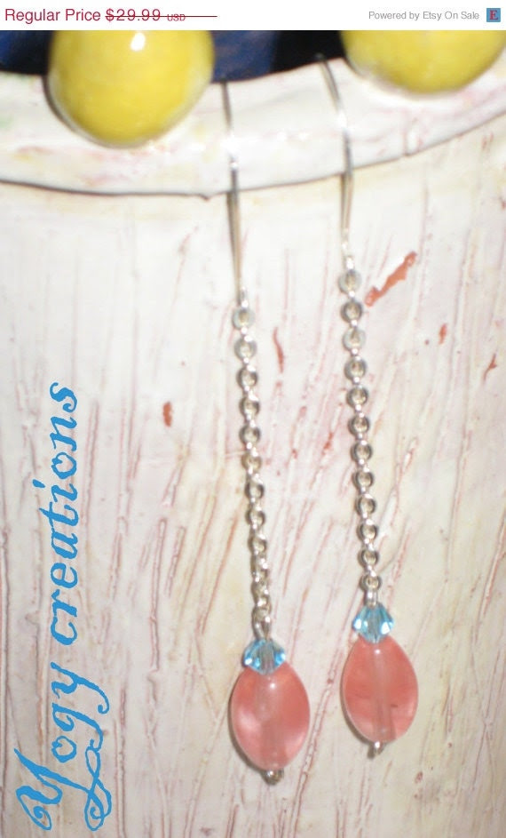 SALE 10% Off Tourmaline pink blue glass crystal silver chain drop earrings jewelry gift