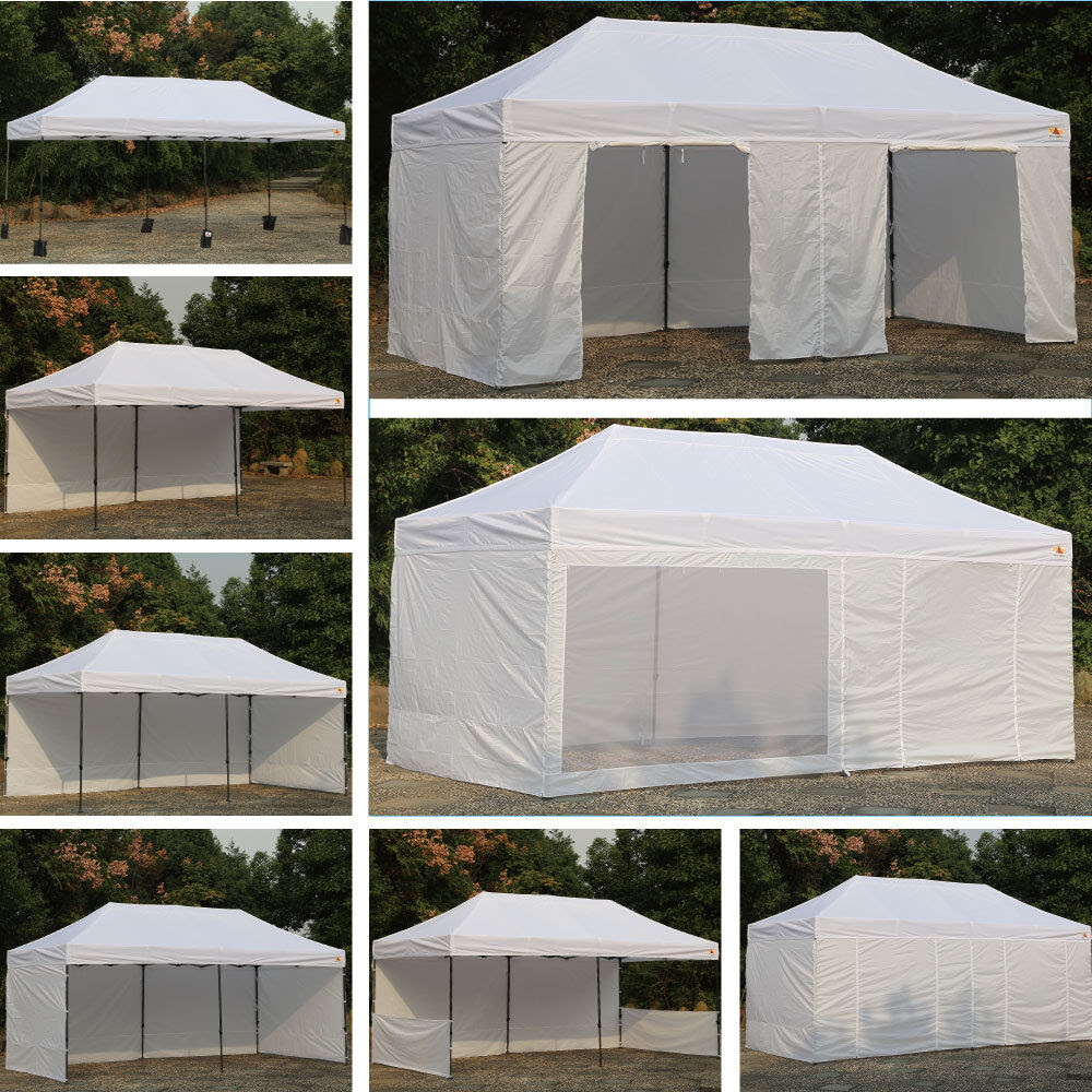 AbcCanopy White 10 X 20 Easy Pop up Canopy Party Tent w/ 9 ...