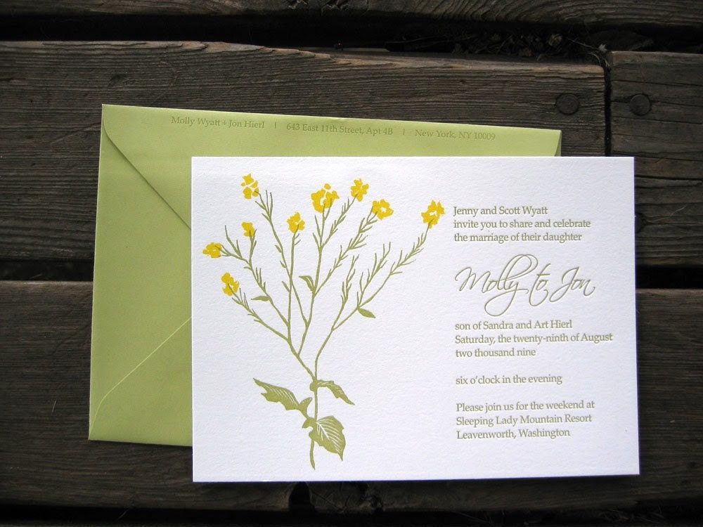 SUMMER SALE- Custom Letterpressed Wedding Invitations-- Wild Mustard Flower