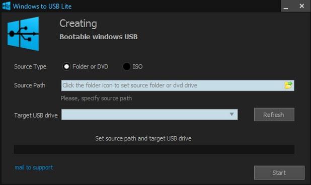 Избирате източника с операционната система, устройството, на което искате да я запишете, натискате Start и готово - имате стартираща USB флашка с Windows