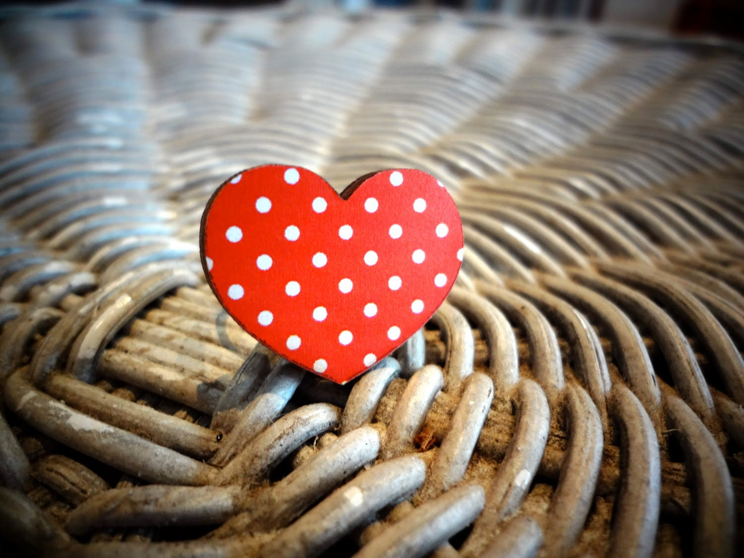 """Wooden Ring """"My Funny Valentine"""" in Red Polka Dot"""
