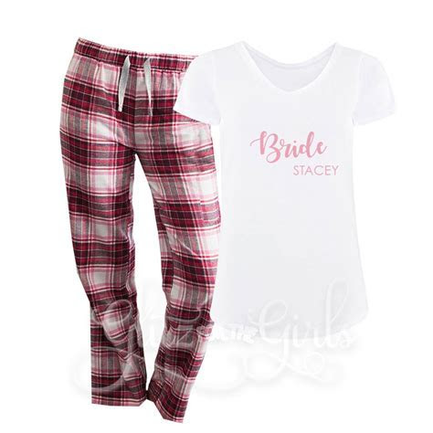 Bridal Party Pink Check Wedding Pyjamas   Glitz For The Girls