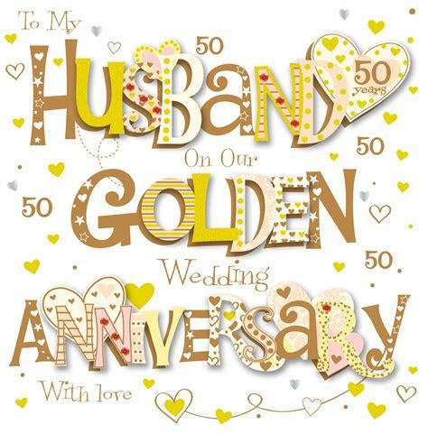 Husband Golden 50th Wedding Anniversary Greeting Card