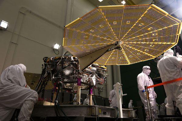 NASA's InSight Mars lander deploys its twin solar arrays at the Lockheed Martin facility near Denver, Colorado...on January 23, 2018.
