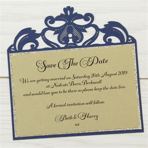 Farrah Glitter Save the Date   Pure Invitation Wedding Invites