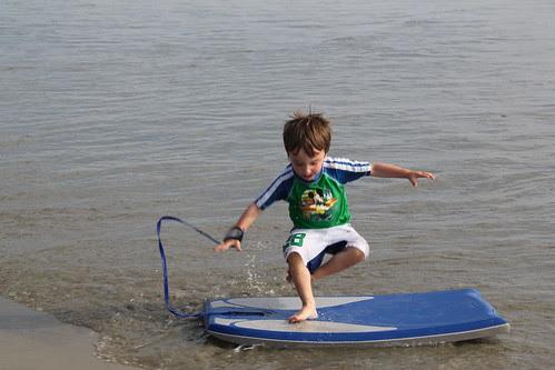 Olsen hops on his boogie board