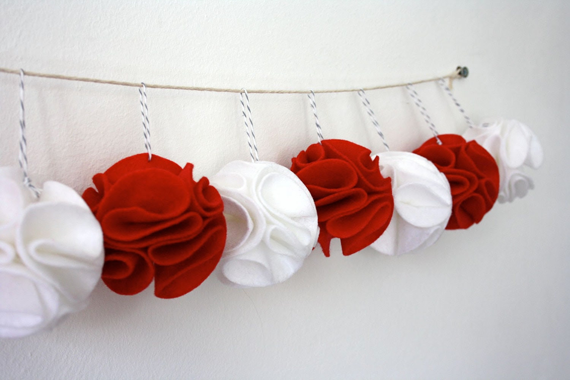 Christmas Ornaments - Winter White - Pom Pom Flowers - Set of 10 Decorations