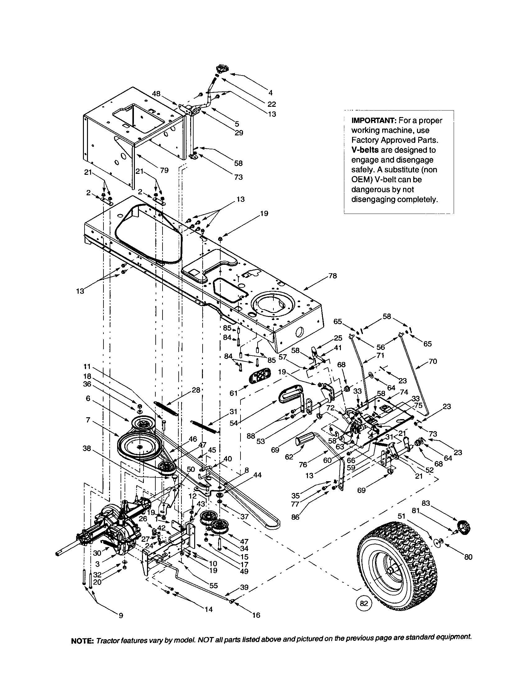FRAME/DRIVE BELT/TRANSMISSION Diagram & Parts List for ...