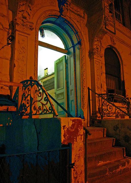Green doorway