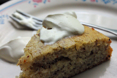 hazelnut cake with creme fraiche
