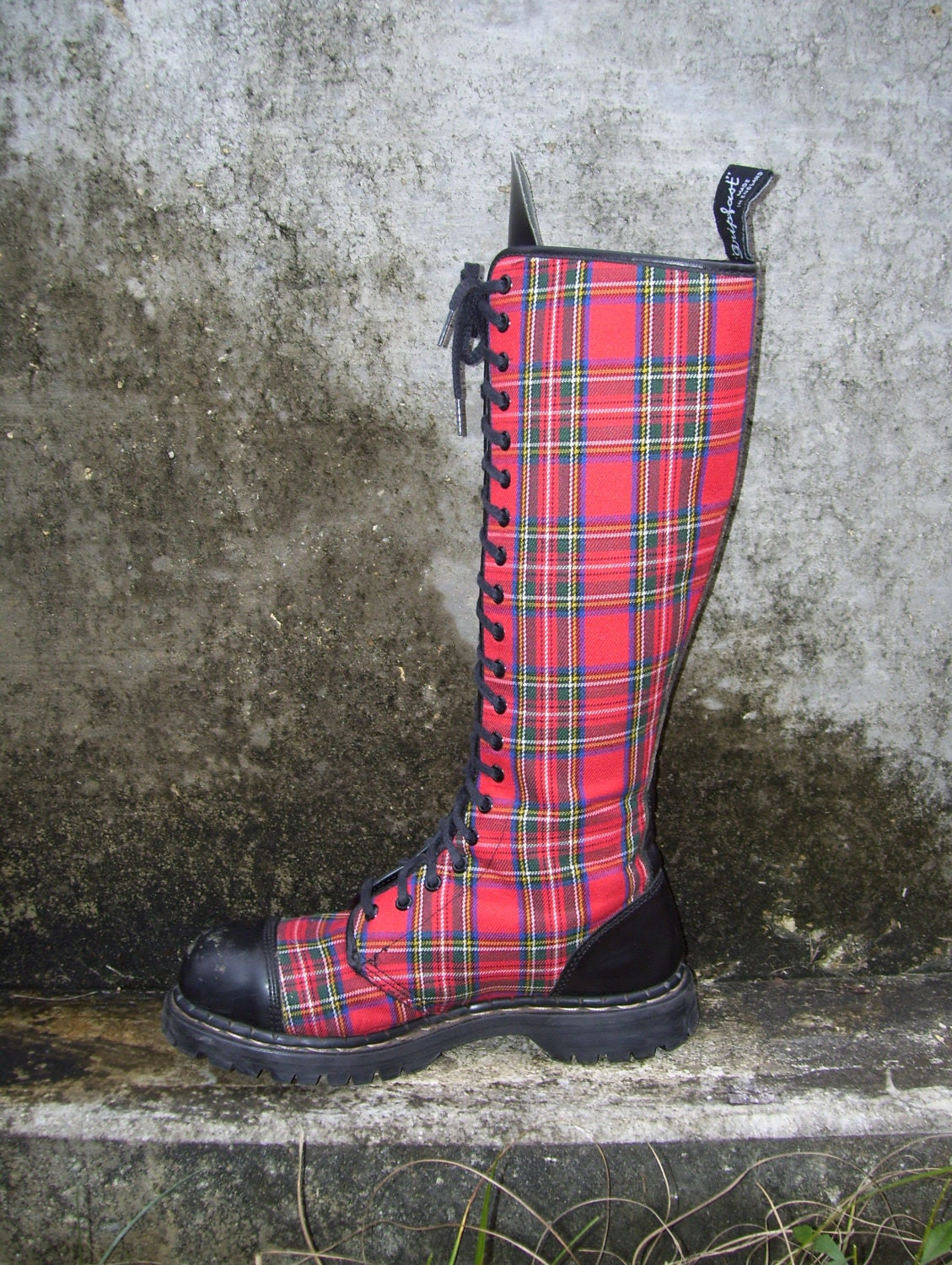 Tartan Plaid Punk Boots Combat Knee High Lace Up GripFast made in England Steel Toes