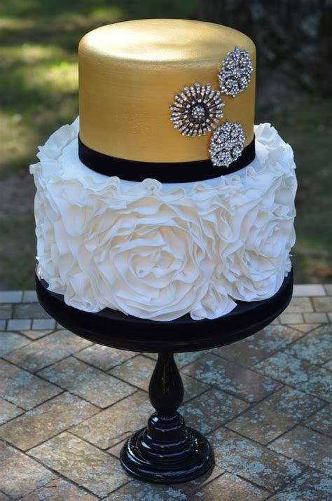 Fashion inspired cake.   Fondant rosette ruffle cake with