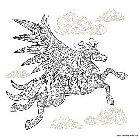 pegasus winged horse hard advanced adult animal coloring