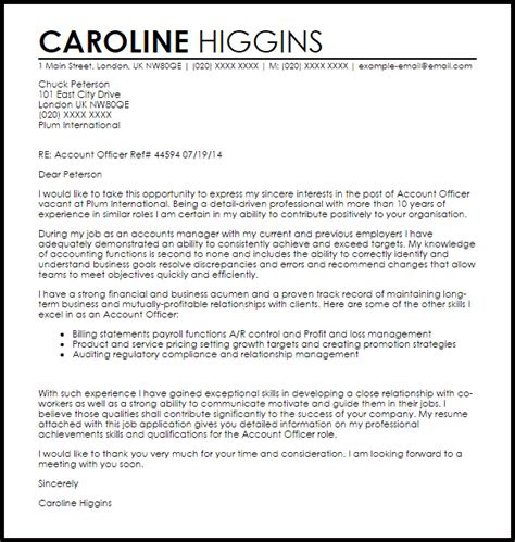 accounts cover letter  international job application